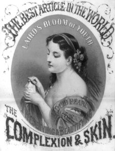 1862 advertisement for Laird's Bloom of Youth, claiming to preserve and beautify the complexion and skin. Source: Cosmetics and Skin.