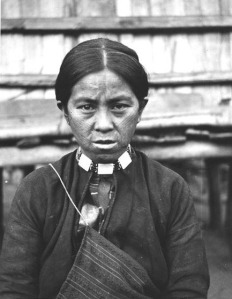 An Atayal tribal lady with tattoo on her face as a symbol of maturity for both male and female.