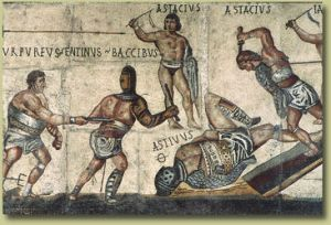 Detail of the Villa Borghese gladiator mosaic. Image courtesy of Neddyseagoon.